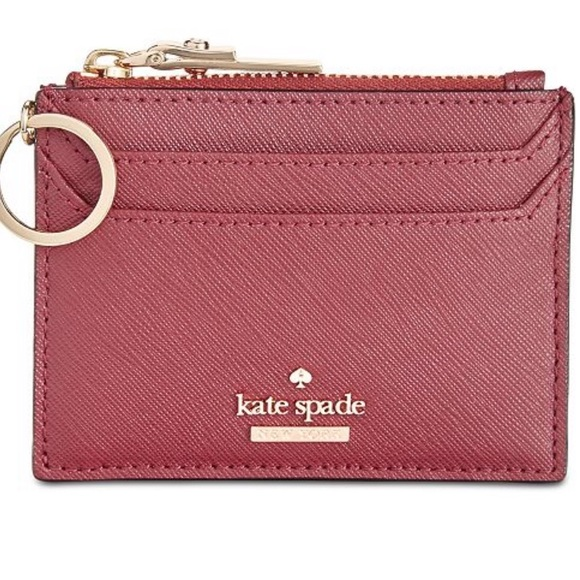 kate spade card holder wallet  RED KATE SPADE CARD HOLDER WALLET WITH KEYCHAIN